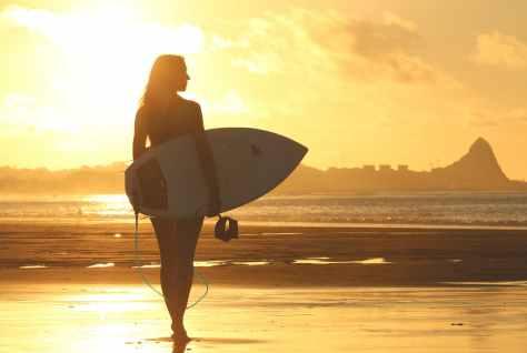 sunset beach woman water