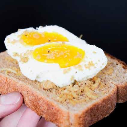 sliced bread with eggs