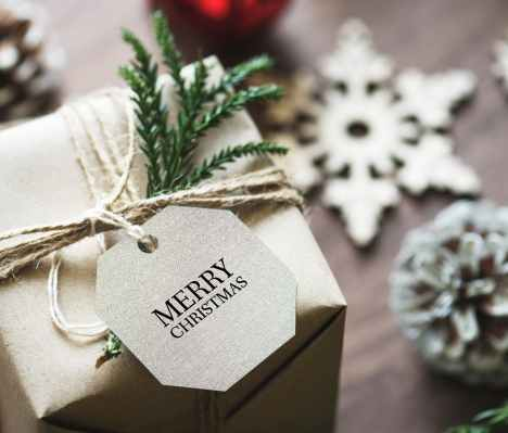 merry christmas gift box close up photo